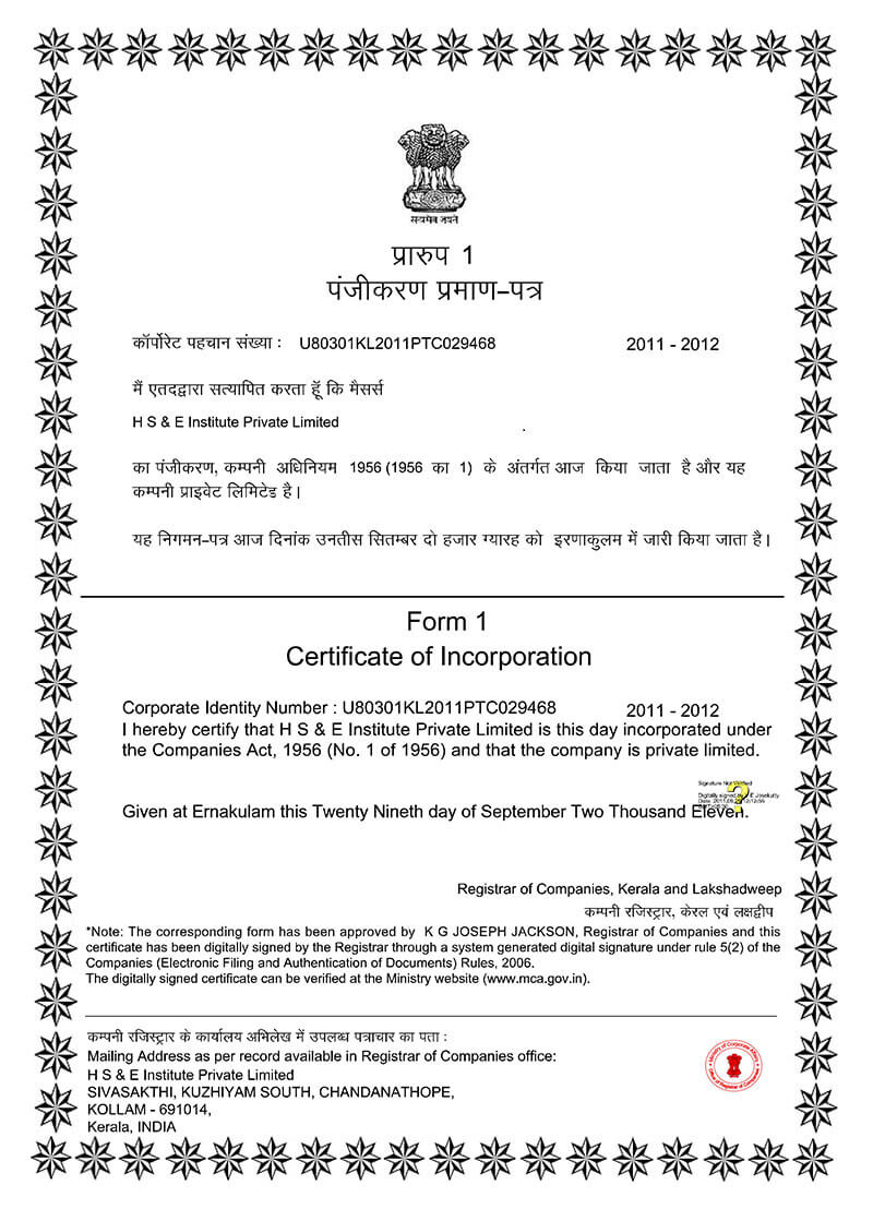 HSEI Certificate of Incorporation