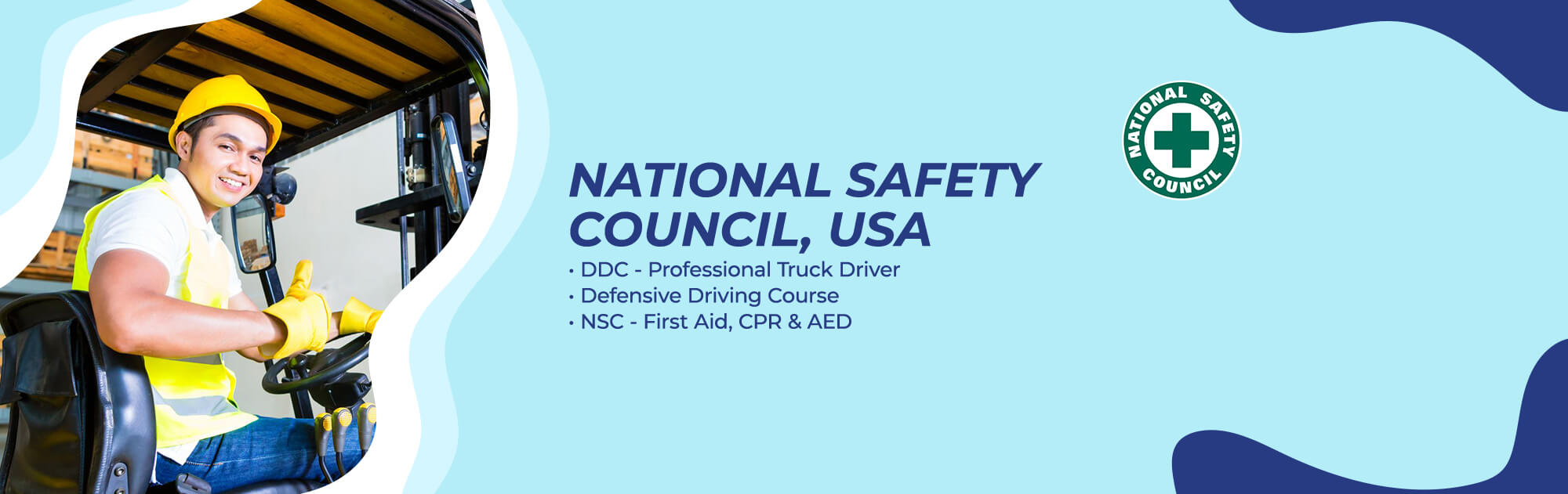 National Safely Council, USA - DDC Professional Truck Driver, Defensive Driving Course, NSC First Aid, CPR and AED