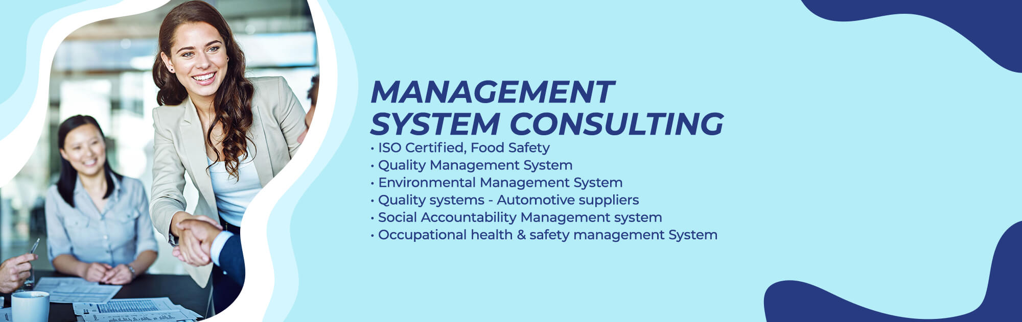 Management System Consulting - ISO Certified, Quality Management System, Environmental Management System, OHSMS, Social Accountability Management System, Quality Systems - Automotive Suppliers, Food Safety